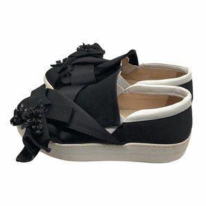 No. 21 Satin Bow Embellished Platform Sneakers